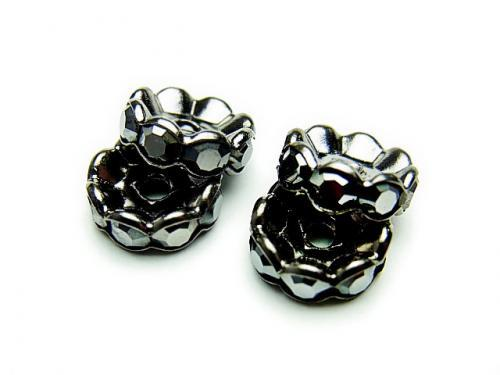 Sale! Preciosa Roundel [Jet Hematite x Black] flower pattern 4-10 mm 10 pcs