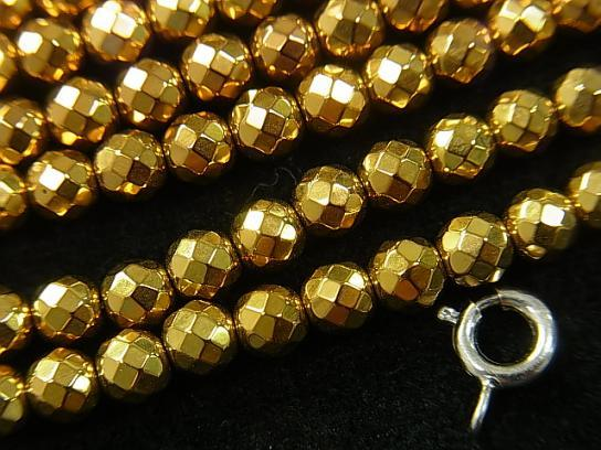 1strand $6.79! Hematite 32 Faceted Round 4 mm gold coating 1 strand (aprx.15 inch / 38 cm)