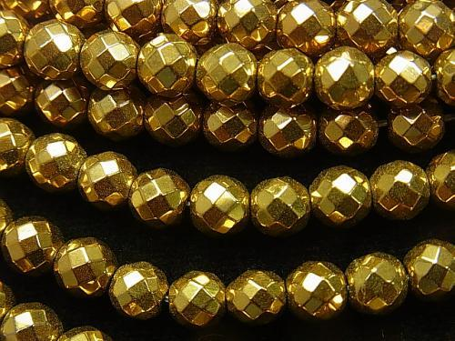 1strand $8.79! Hematite 64 Faceted Round 6 mm Gold coating 1 strand (aprx.15 inch / 37 cm)