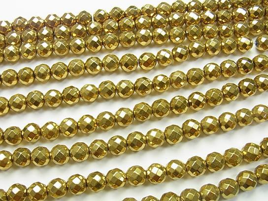 1strand $8.79! Hematite 64 Faceted Round 8 mm gold coating 1 strand (aprx.15 inch / 37 cm)