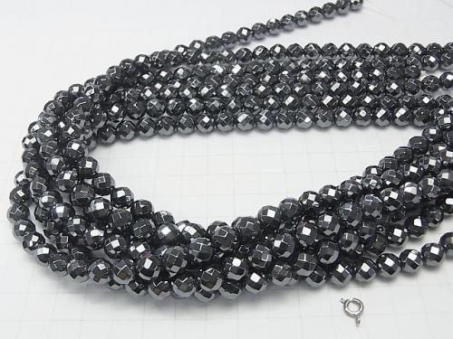 1strand $9.79! Hematite AAA 64Faceted Round 8mm 1strand (aprx.15inch/38cm)