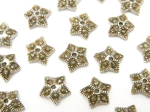 Silver 925 bead cap with Marcasite 8 x 8 x 2 mm 2 pcs $4.79!