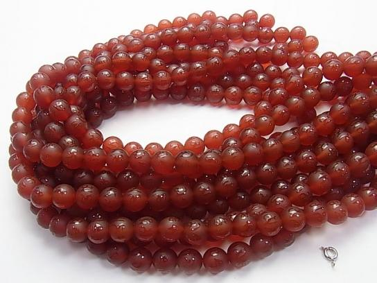 Six-syllable Mantra Carving! Frost Red Agate Round 8 mm, 10 mm, 12 mm, 14 mm 1 strand (aprx.15 inch / 36 cm)