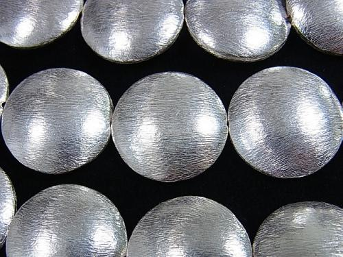 Copper Coin Shape 26 x 26 x 8 mm Silver 2 pcs or 1 strand (aprx.15 inch / 36 cm)