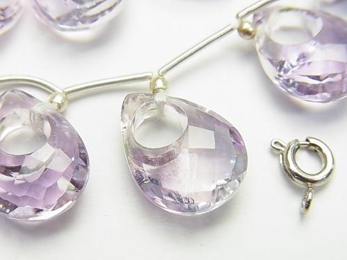 High Quality Rose Amethyst AAA Donut Faceted Pear Shape (hole center) 1pc, 1strand (7pcs)