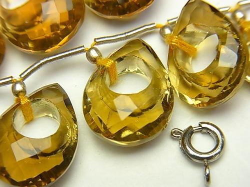 High Quality Beer Crystal Quartz AAA Donut Faceted Pear Shape 1pc, 1strand (7pcs)
