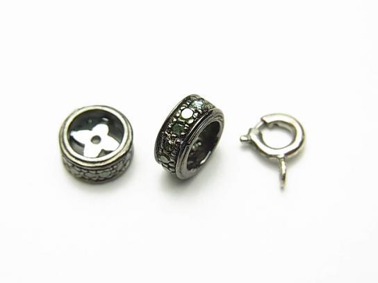 1pc $49.99! Tsavorite Garnet Roundel parts 8x8x4mm Silver925 NO.3