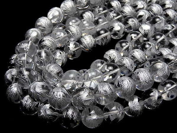 Silver! Phoenix (Four Divine Beasts) Carving! Crystal AAA Round 10, 12, 14, 16 mm half or 1 strand