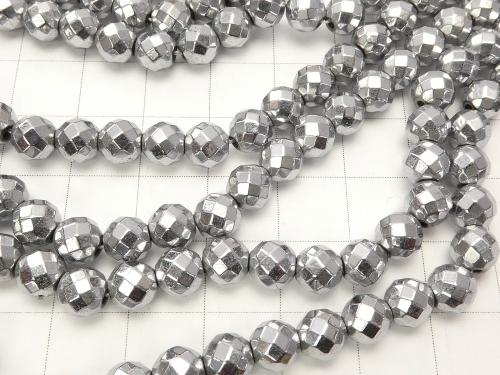 Magnetic! 1strand $7.79! Hematite 64 Faceted Round 6 mm silver coating 1 strand