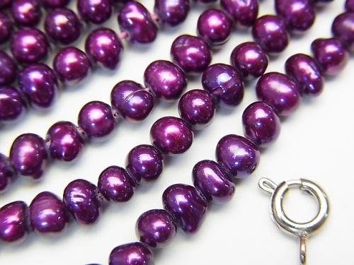 1strand $4.79! Fresh Water Pearl AA Potato 4x5x4 Metallic Purple 1strand (aprx.14inch / 34cm)