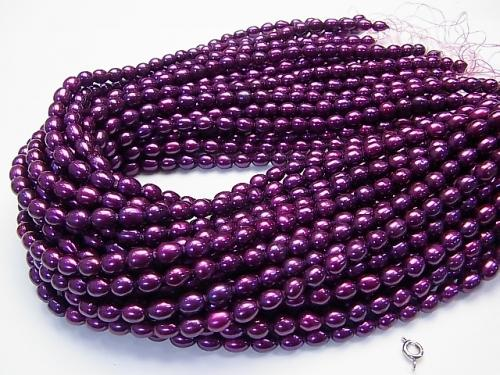 1strand $5.79! Fresh Water Pearl AA Rice 7x6x6mm metallic purple 1strand (aprx.15inch / 36cm)