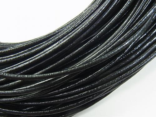 Europe Leather Cord Round wire [1 mm] [1.5 mm] [2 mm] black 1 rool (20 m)