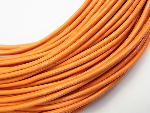 Europe Leather Cord Round wire [1 mm] [1.5 mm] [2 mm] orange 1 roll (20 m)
