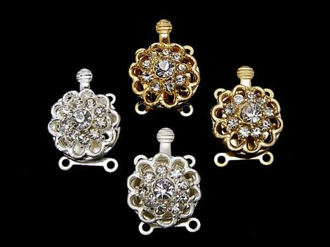 Metal Parts with rhinestone clasp flower 14 mm 2 holes 2 pcs $2.79!