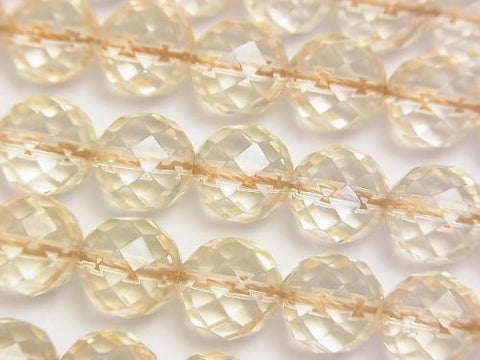 Champagne color quartz AAA 64 Faceted Round 10 mm half or 1 strand (aprx.15 inch / 38 cm)