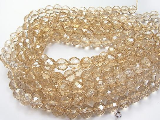 Champagne color quartz AAA 64 Faceted Round 12 mm half or 1 strand (aprx.15 inch / 38 cm)