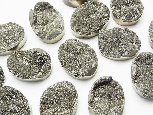 Druzy Agate Undrilled Oval 20 x 15 Silver Coating 1 pc $5.79!