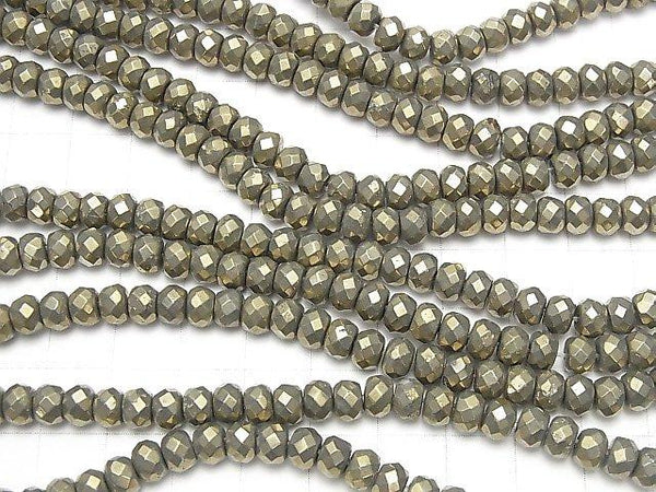 Golden Pyrite AAA Faceted Button Roundel 6 x 6 x 4 half or 1 strand (aprx.15 inch / 38 cm)