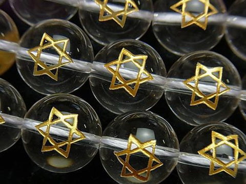 Gold! Six-pointed star Carving! Crystal AAA Round 8, 10, 12, 14mm 1/4 or strand