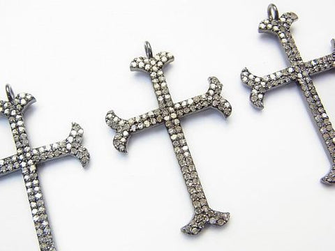 Diamond Cross Charm 33x22x2 Silver 925 (BKRhodium Plated) 1pc $117.99!