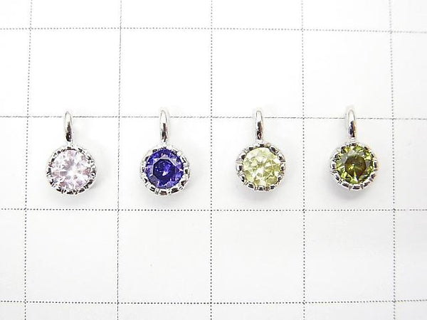 New Colors Available! 8 Colors Cubic Zirconia Charm (Silver) 5x5x3mm 1pc $0.99