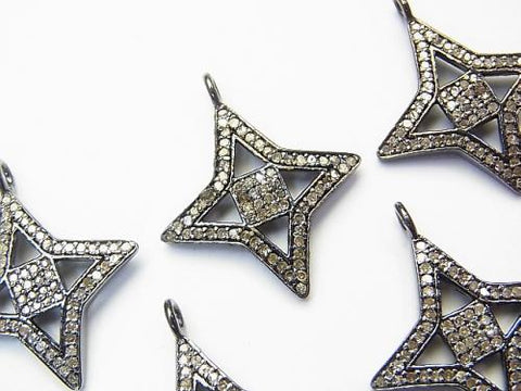 Diamond star motif charm 21 x 21 x 2 Silver 925 (BKRhodium Plated) 1 pc!