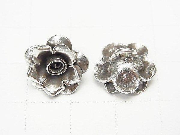 Karen Hill Tribe silver rose ornaments charm 13 x 13 x 5 mm 1 pc