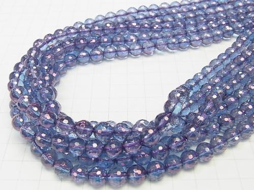 Cosmo Aura Crystal Quartz  128Faceted Round 8mm half or 1strand (aprx.15inch/38cm)