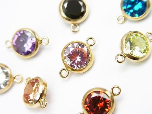 8 colors available! 14KGF charm w / CZ Both Side 11x7x3.5mm 1pc