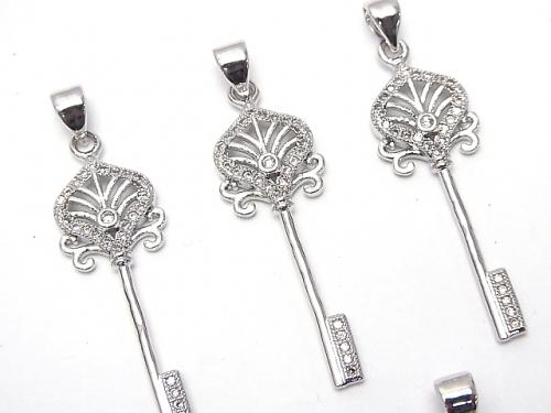 Metal Parts CZ key (key) motif Pendant 34 x 11 mm silver color 1 pc $2.99!