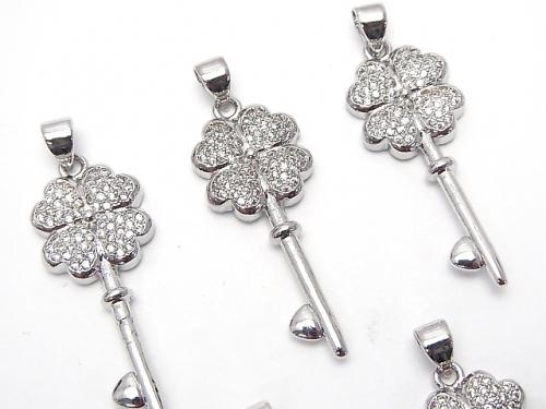 Metal Parts with CZ Clover & key motif Pendant 33 x 13 mm silver color 1 pc