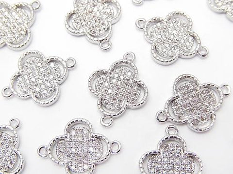 Metal Part Joint Part Flower (with CZ) [10 mm] [12 mm] Silver Color 1 pc