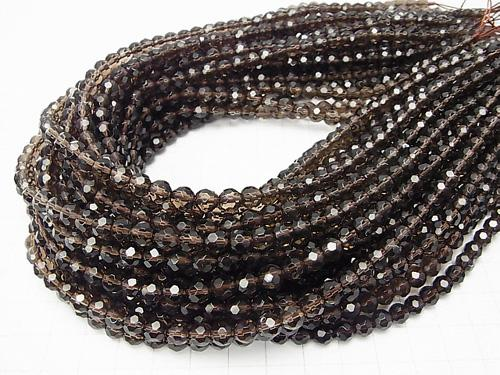 1strand $9.79! Smoky Crystal Quartz AAA 32Faceted Round 6mm 1strand (aprx.15inch/36cm)