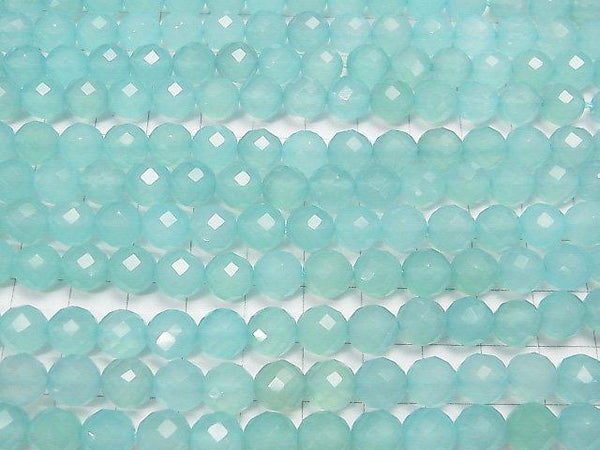 Diamond Cut! Sea Blue Chalcedony AAA 64 Faceted Round 8 mm 1/4 or 1strand (aprx.15 inch / 38 cm)