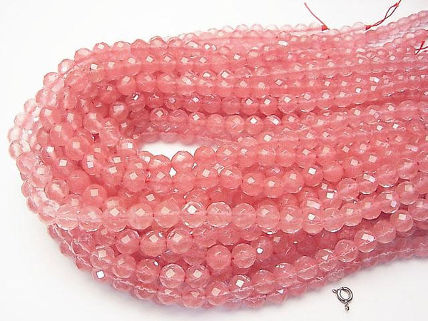 1strand $4.79! Cherry Quartz Glass  64Faceted Round 8mm 1strand (aprx.15inch/36cm)