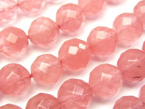 1strand $5.79! Cherry Quartz Glass  64Faceted Round 10mm 1strand (aprx.15inch/36cm)