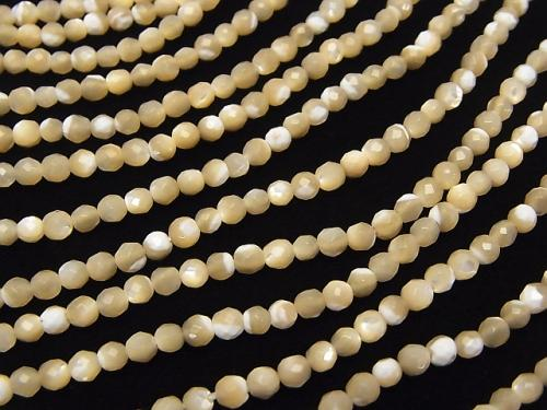 1strand $7.79! Mother of Pearl MOP Faceted Round 3mm beige 1strand (aprx.15inch / 38cm)