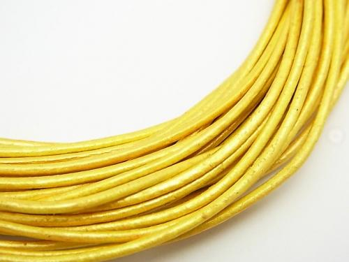 Europe Leather Cord Round wire [1.5mm] gold 1rool (10m)
