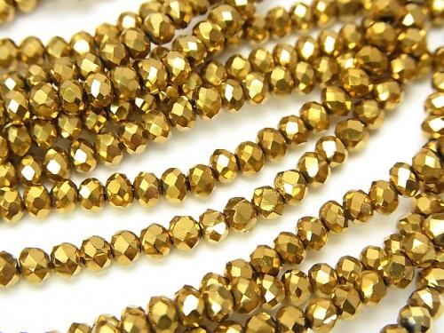 1strand $1.79! Glass Beads  Faceted Button Roundel 3x3x2mm Gold 1strand (aprx.15inch / 36cm)