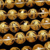 Golden! Phoenix (Four Divine Beasts) Carving! Crystal AAA Round 10, 12, 14, 16 mm half or 1 strand