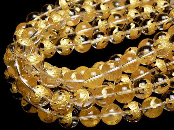 Tiger (Four Divine Beasts) Carving! Crystal AAA Round 10, 12, 14, 16 mm half or 1 strand