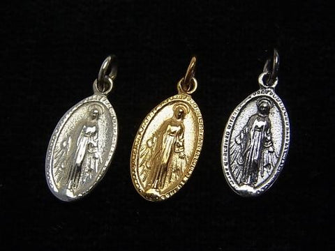 1pc $8.79! Silver925 Miraculous Medal Motif Charm 15x9mm 1pc