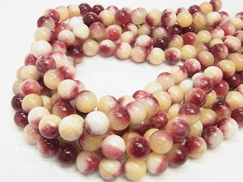 1strand $6.79! Red & Yellow Jade Round 12mm 1strand (aprx.15inch / 38cm)