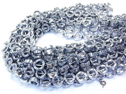1strand $6.79! Hematite deformed Coin (donut) 12 x 12 mm x 4 mm Silver coating 1 strand (Approx 38 cm