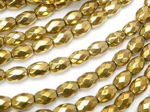 1strand $7.79! Hematite Faceted Rice 6x4x4mm Gold coating 1strand (aprx.15inch / 38cm)