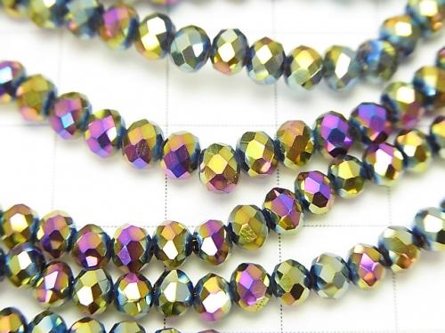 1strand $1.79! Glass Beads  Faceted Button Roundel 4 x 4 x 3 mm Metallic Coating 1strand (aprx.18 inch / 44 cm)
