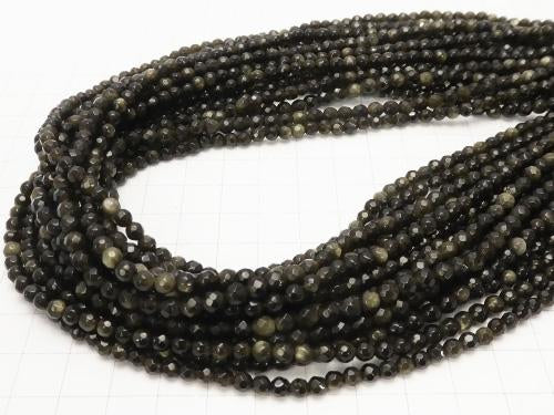 1strand $5.79! Golden Shine Obsidian 32 Faceted Round 4 mm 1strand (aprx.15 inch / 38 cm)