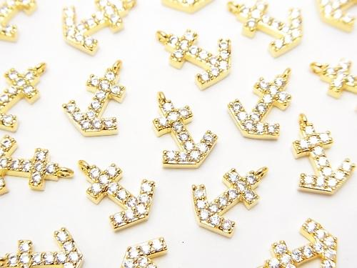Metal Parts charm 11 x 7.5 Ikari gold color (with CZ) 1 pc $1.79