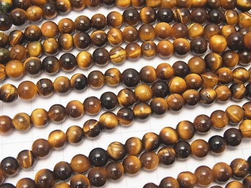1strand $6.79! Yellow Tiger Eye AA ++ Round 6 mm [2 mm hole] 1 strand (aprx.14 inch / 35 cm)