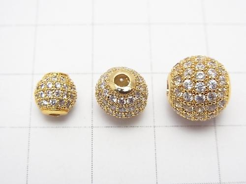 Metal part Round beads 6 mm, 8 mm, 10 mm gold color (with CZ) 1 pc $3.39